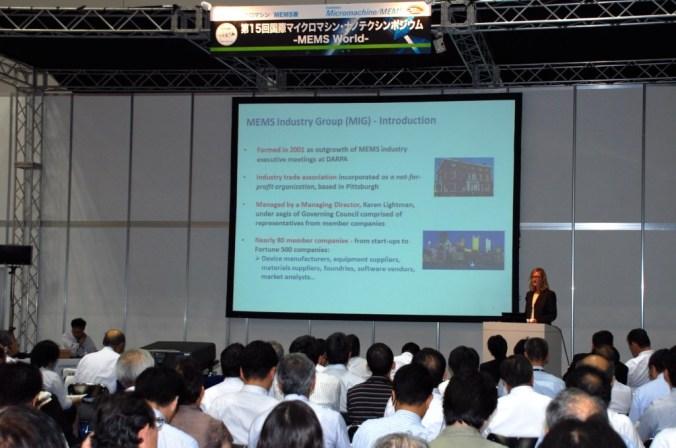 Karen Lightman addressing the crowd at Exhibition MEMS/Micromachine
