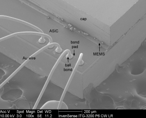 Figure 1 Tilt View SEM of ITG-3200 Chip